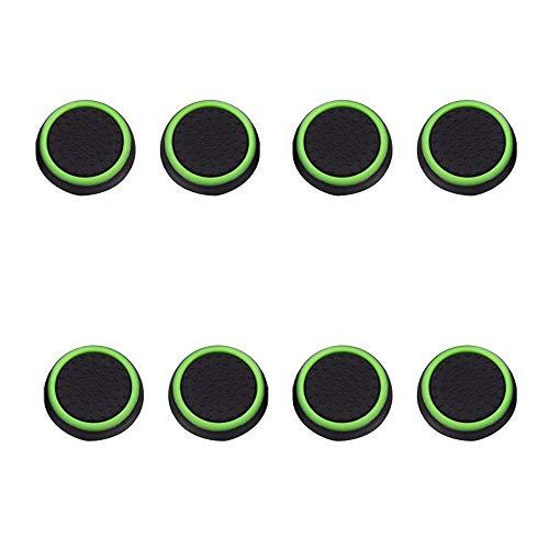 Fcostume 8 Stück leuchtende Silikon-Gel-Daumen-Griffkappen für Nintendo Switch Controller (grün)