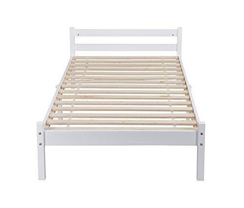 Single Bed Base GreenForset 3ft Wooden Bed Frame in White