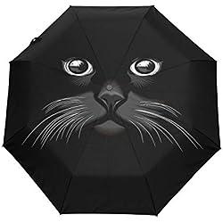 GraciasU Paraguas de Doble Capa para Gato, Ligero, Resistente, Resistente al Viento, Compacto, Plegable, antiUV, para Viajes y Negocios