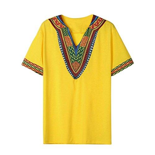 VEMOW Mode Sommer Männer Slim Fit V-Ausschnitt Gedruckt Muscle T-Shirt Beiläufige T-stücke...