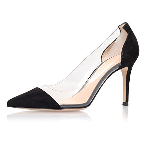 EDEFS Chaussure Femme Transparent Talon Aiguille Stiletto Sandales Soirée À Enfiler Escarpins Taille Noir