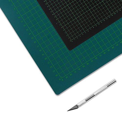 Schneidematte grün/schwarz 60 x 90 cm + Grafikmesser -