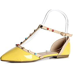 topschuhe24 1113 Damen Riemchen Pumps Ballerina Spitz, Farbe:Gelb;Größe:39