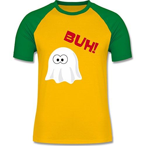 Halloween - Kleiner Geist Buh süß - zweifarbiges Baseballshirt für Männer Gelb/Grün