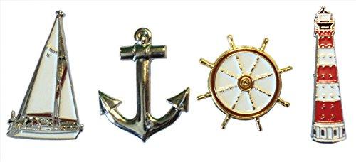 Preisvergleich Produktbild Set von nautischen Verwandte Metallschilder Schiff Anker Leuchtturm & Rad