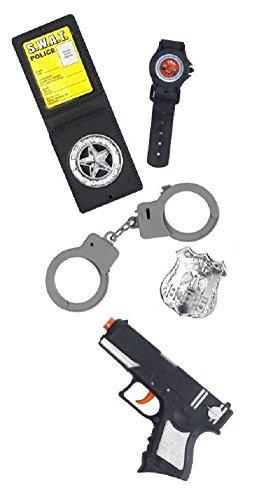 Jungen Mädchen Kinder Kinder 5 Stück Polizist Swat Team Kostüm Kleid Outfit Zubehör Set Spielzeug Pistole Handschelllen Uhr Orden (Swat Kleid Kostüm)