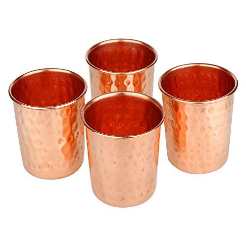 Zap Impex ®–Vasos de Cristal de Cobre amartillado 100% Cobre Puro zuhaltung ayurvedischen Heil Conjunto de 4