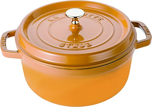 Staub 1102412 - Cocotte redonda, color amarillo mostaza, tamaño 24 cm