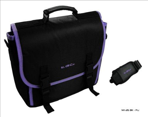 Tablet Cover Hp 7 (New Schwarz & Lila Trim Messenger Style Tragetasche für das HP Slate 7Tablet & Cover)