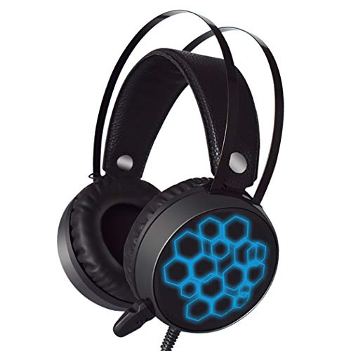 Gaming Headset 7.1USB Bunte Beleuchtete Internet Cafe E-Sport 40mm Maschine Computer Universal Soft HD Mikrofon (Farbe : Short Microphone Does not emit Light)