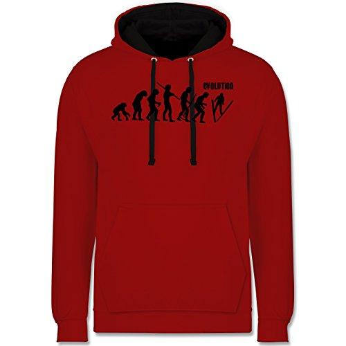 Evolution - Skisprung Evolution - Kontrast Hoodie Rot/Schwarz