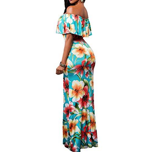 ASCHOEN Damen Freizeit am Meer Schulterfrei Lange Mehrfärbig Druckenblumen Kleid Abbildung 3