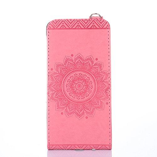 Samsung Galaxy J7 Prime Hülle Leder Tasche Flip Cover Samsung Galaxy J7 Prime Wallet Case Alfort Stilvoll Handycover Rose Rot Mandala Blumen Muster PU Ledercase Brieftasche Handyhülle für Samsung Gala Rosa