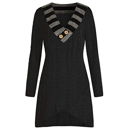 Yvelands Mode Damen Langer Pullover Casual Plus größe Langarm v-Ausschnitt Kabel gestrickte Longline ()