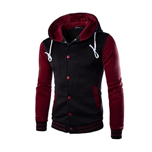 Koly_Gli uomini del rivestimento del cappotto caldo Outwear maglione invernale Slim con cappuccio (M, Vino)