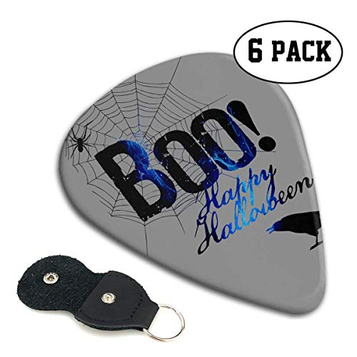 (Boo Happy Halloween Free Printable Celluloid Guitar Picks Premium Picks 6 Pack for Guitar,Mandolin,and Bass 0.46mm, 0.71mm, 0.96mm Optional with PU Leather Pick Holder(0.96mm))