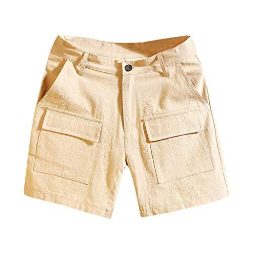 Sllowwa Herren Cargo Shorts Cargoshorts Kurze Hose Gürtel Sommer Mode Reine Farbe Overalls mit Mehreren Taschen Comfort Beach Short Pants -