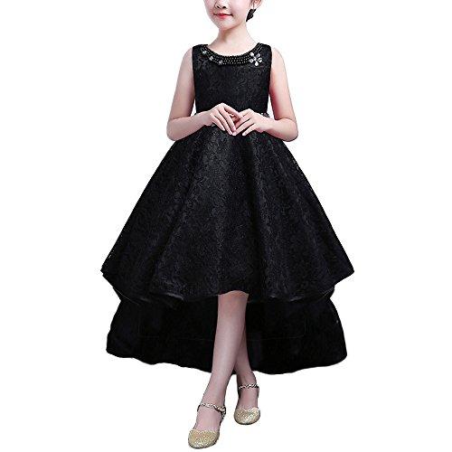 HUANQIUE Mädchen Kinder Kleid Lang Brautjungfer Festlich Hochzeit Kleider Abendkleid Schwarz (Kinder Schwarz Kleid)