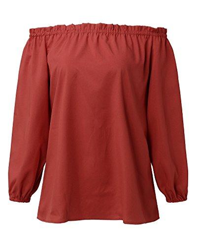 StyleDome Damen Schulterfrei Maxi Lange Ärmel Langarm Chiffon Oberteil Tops Shirts Weinrot725094