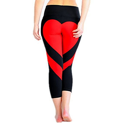 Vertvie Women's Heart Shaped Tights Sports Leggings Pants For Gym Yoga Athletic Workout Running Fitness Outdoor(XXL/UK 14, Black Red)