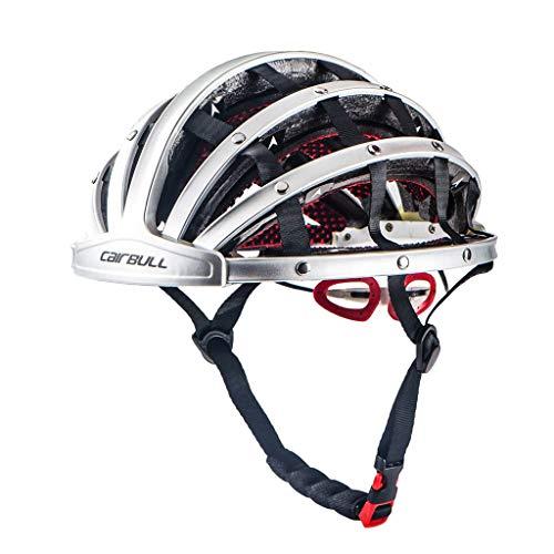 Fahrradhelm Herren Damen Erwachsene Fahrrad Zyklus Helm Faltbarer Fahrradhelm Bike Folding Ultralight Unisex Fahrradhelm 56-62cm Erwachsene Fahrradhelm,Foldable Basic Fahrradhelm (Silver)