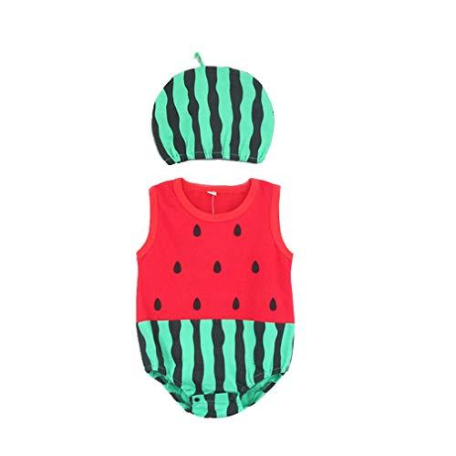 BYFRI Baby-Kind-Kind-Overall Fancy Tier Insekt Kostüm Sommer-Karikatur Onesies Ärmel Bodysuit und Hut Set Strampler Outfits für Jungs Grils (80 & Watermelon)
