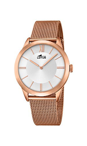 Lotus Unisex Quartz Watch with Silver Dial Analogue Display and Rose Gold Stainless Steel Rose Gold Plated Bracelet 18328/1