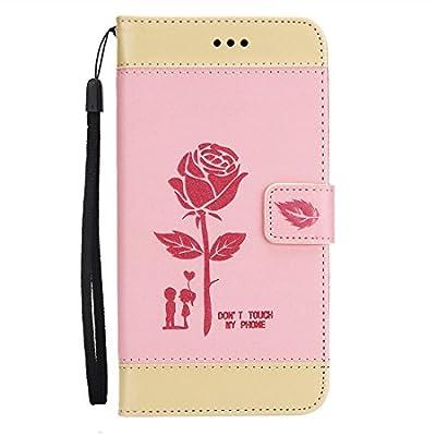 Tasche Leder für Huawei Honor 6X Hülle Klappbar und Display Schutz Folie ,OYIME Rose Liebespaar Muster Zweifarbige Nähte von OYIME - Du und dein Garten