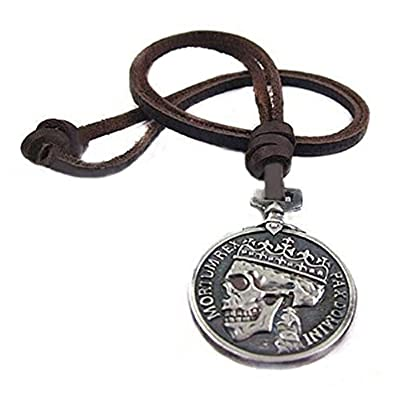 TR.OD Men Charm Silver Skull Pendant Leather Necklace Strand String