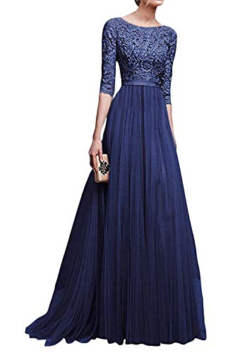 Minetom Damen Elegant A-Linie Ärmellos Oder Kurzarm Brautjungfern Kleid Floral Spitzen Abendkleid Prinzessin Tüllkleid Ballkleid Cocktail Party Hochzeit Maxikleid Lang Blau DE 46