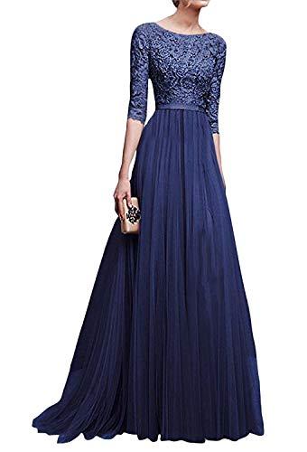 cheaper 056b3 658b1 Minetom Donna Chiffon Vestito Lungo Abito Da Cerimonia Elegante Vestiti Da  Matrimonio Lunghi Vestito Formale Banchetto Sera Blu IT 50