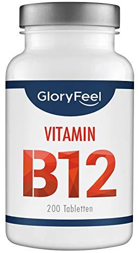 GloryFeel® Vitamin B12 1000µg - Trägt zur Verringerung von Müdigkeit bei* - VERGLEICHSSIEGER 2019** - 200 Vegane B12 Lutschtabletten - Laborgeprüft ohne Zusätze hergestellt in Deutschland