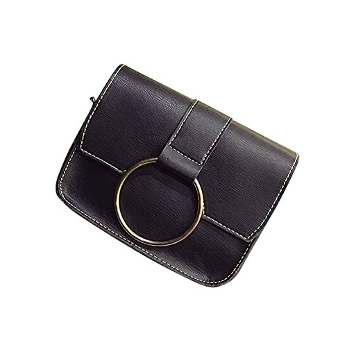 Longra Donne singolo sacchetto di spalla del cerchio di modo Nero