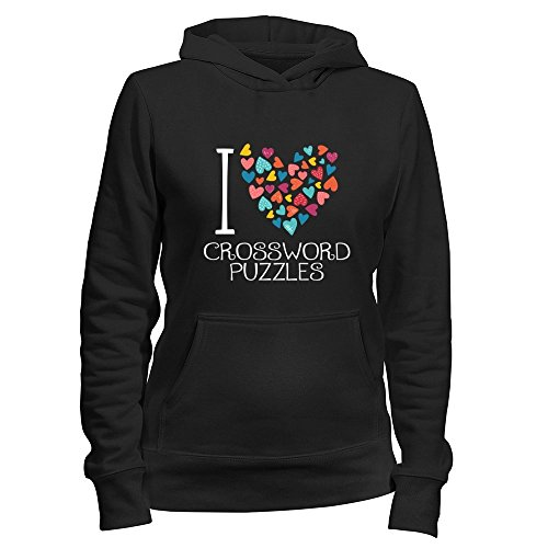 Idakoos I love Crossword Puzzles colorful hearts - Ocio - Sudadera con capucha para mujer