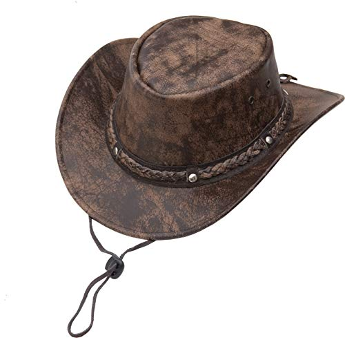 ae26aa06 Wombat Leather - Sombrero Cowboy - para Hombre Marrón marrón Small