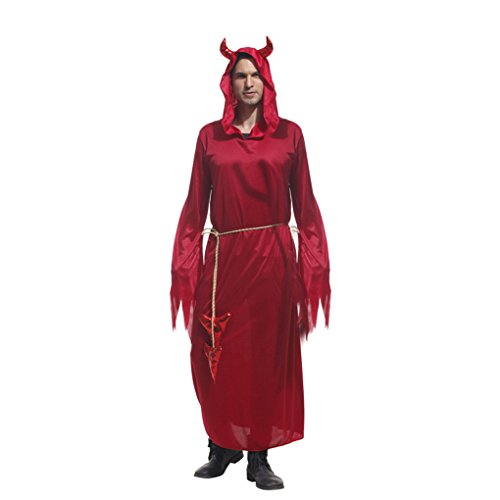 Fancy Au Dress (Halloween Kostüme Männer Fancy Dress Kapuzen Teufel Cosplay Uniformen Red Performance Robes mit Gürtel)