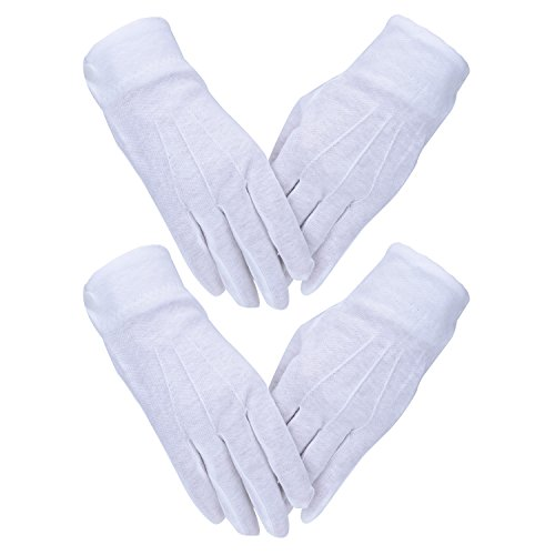 Price comparison product image Blulu White Stitched Cotton Gloves Parade Gloves with Snap Closure,  2 Pairs