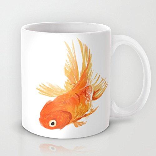 Qemingyer Einzigartige Goldfish Kaffee Tasse Funny Keramik Geschenk Kaffee Tee Kakao Kaffee Cup 11Oz Tasse Best Funny Geschenk Weihnachten Kaffee Tasse Geschenke