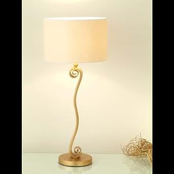 Lampe à 1 ampoule éco holländer tROFEO fer doré-parapluie rond écru