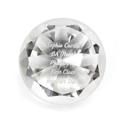 Personalised Engraved Message Diamond Paperweight - Wedding Birthday Gift Test