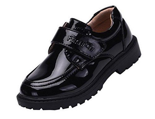 Flying Hedwig Oxford Chaussures de Ville Mocassins pour Enfants Garçons Hommes Chaussures en Synthétique Cuir à Velcro Formel Causal pour Mariage Travaille Noir