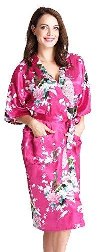 Aibrou Damen Morgenmantel Kimono Robe Bademantel Schlafanzug Nachtwäsche Lang aus Satin mit Peacock und Blüten Rot (Rote Roben Satin)