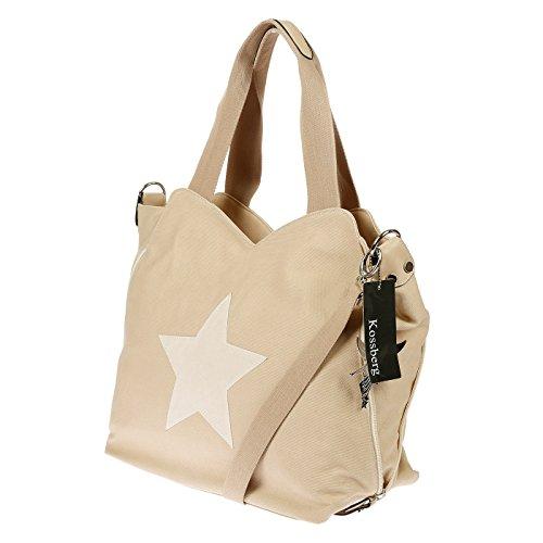Kossberg Damen Tasche Schultertasche Umhängetasche mit Leder Stern Shopper F-3151-1 Modell 2 Beige