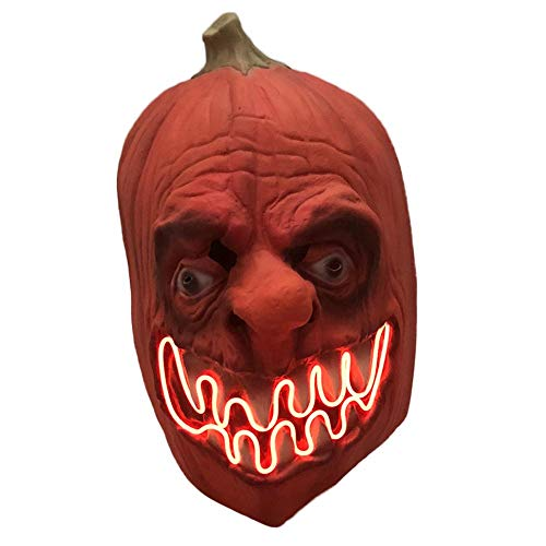Horror Maske Scary Pumpkin Cosplay Maske Mit LED Licht Creepy Latex Erwachsene Monster Horror Party Gesichtsmaske ()
