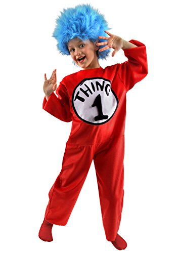 Dr Seuss Kostüme Halloween (Hat 1 and Thing 2 Child Costume Dr. Seuss Thing Cats - - Dr Seuss The Cat in the Hat Thing 1 and Thing 2 Halloween child costume Size:. S)