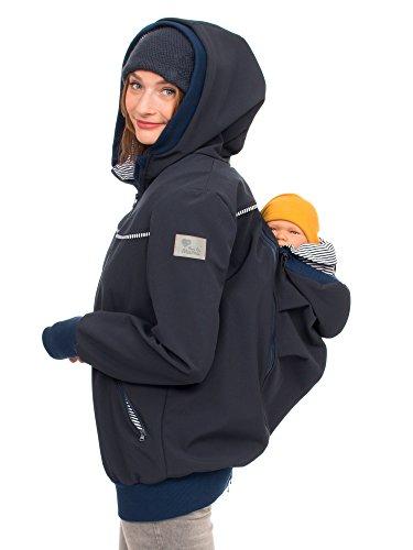 Viva la Mama Jacke für Baby Hintentragen Rückentrage Vorn und Hinten 4in1 Jacke Softshell Trageposition Rücken Einsatz - AVENTURIS Marineblau - M