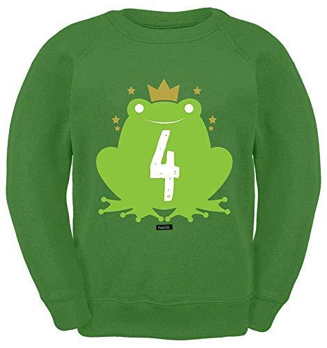 HARIZ Kinder Sweater Süßer Frosch 4 Geburtstag Plus Geschenkkarten Limette Grün 128/7-8 Jahre -