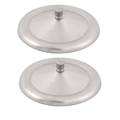 2 Stück runde Form Edelstahl Getränk Schale Kappe Cover Becher Kappe Silber (2 Glas Runde Getränke)