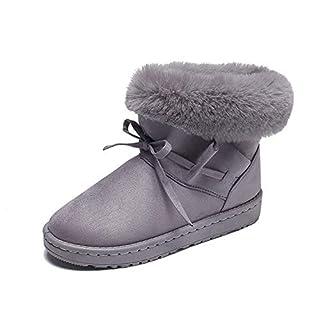 3Colour Warm Fur Women Snow Boots Cute Suede Winter Shoes Fur Ball Mid-Calf Boots,Gray,8