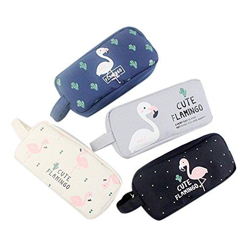 fablcrew Small Cute Flamingo Pencil Case Kleine Canvas Tasche-fach Tasche Beauty-Tasche Mignon Zipper Storage Bag für die Schülerinnen oder Frauen Desktop - (Victoria Secrets Mäppchen)